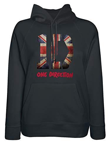 LaMAGLIERIA Damen-Hoodie One Direction Uk Flag Texture - Kapuzenpullover pop Boy Band, Medium, Schwarz