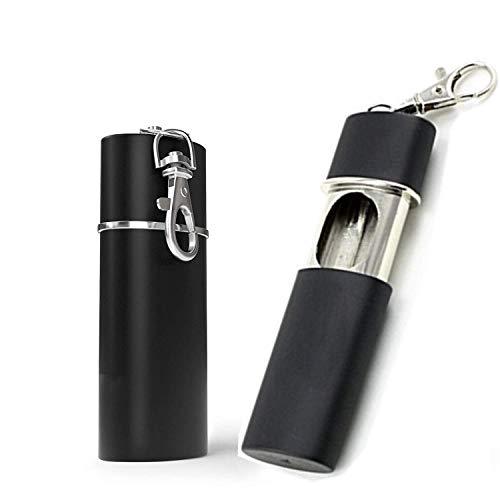 2 Stück Taschenascher, Zigaretten Taschenaschenbecher geruchsdicht, Tragbarer Aschenbecher Reiseaschenbecher Mini Zigaretten Aschenbecher für Mitbringen auf Reisen den AußenEinsatz -Schwarz