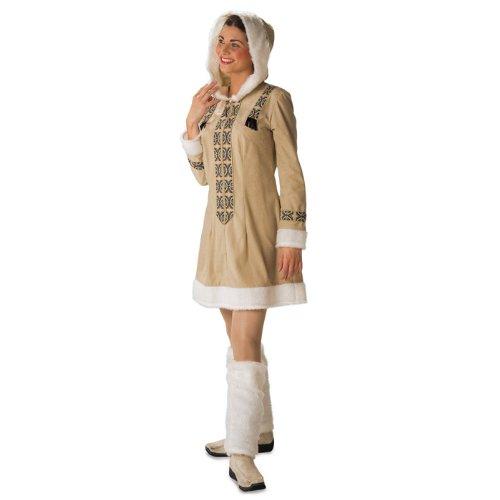 NEU Damen-Kostüm Eskimofrau, Kleid & Stulpen Gr. (Kostüm Damen Eskimo)