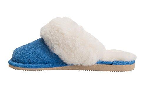 Peau de Mouton et de la Laine Naturelle Pantoufles Mule pour Femme Avec Doublure Chaude Bleu