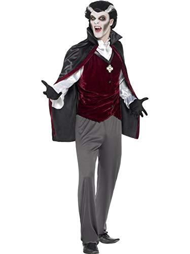 Dracula Erwachsene Dapper Für Kostüm - Luxuspiraten - Herren Männer Kostüm eleganter Vampir Graf Dracula, Hose Weste Shirt Umhang und Handschuhe, Dapper Devil Vampire Trousers Waistcoat Shirt Cape, and Gloves, perfekt für Halloween Karneval und Fasching, M, Grau