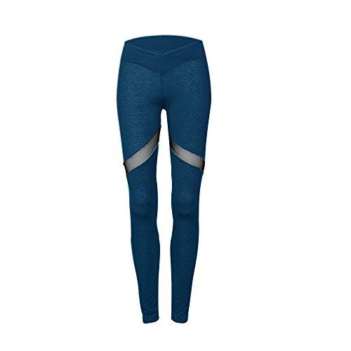 Junshan Femmes Sport Pantalons creux filet de yoga en forme de coeur coutures Fitness Leggings Pantalons de Gymnastique Bleu