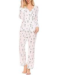 bdc5813740 Damen Schlafanzug Kuschelig Lang Zweiteiliger V Ausschnitt Kimono Süß  Pyjama Nachthemd Viskose Morgenmantel Set für Sommer