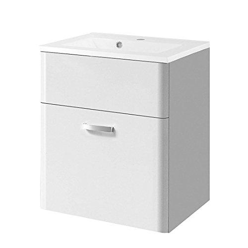 Held Möbel 098.3044 Phoenix Waschtisch, 1 Auszug, 1 Mineralgussbecken, 60 x 69 x 50 cm, hochglanz weiß