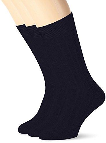 SELECTED HOMME SHDPETE 3-PACK COTTON RIB SOCK NOOS, Calze Uomo, Blu (Navy Blazer), Taglia (Rib Socks)