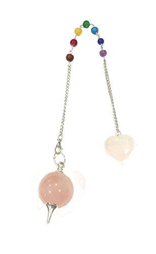 La conchiglia-pendolo pendolino quarzo rosa - catena chakra - sfera 2,5cm circa
