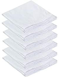 The Cotton Company Luxury Handkerchief - White with Self Satin Stripe (Pack of 6)