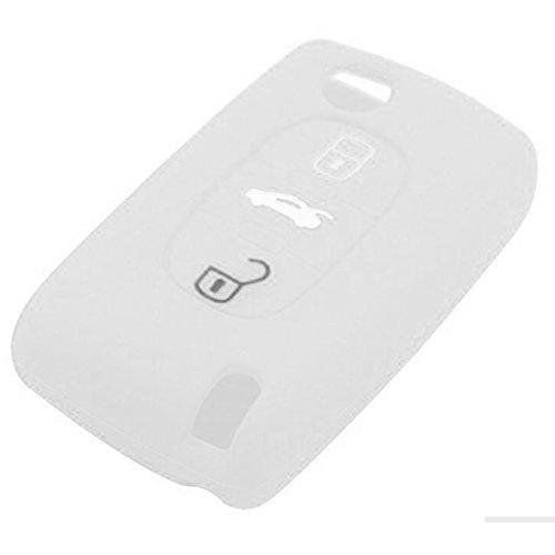 Sac à clés ensemble en silicone pour Peugeot voiture-Blanc