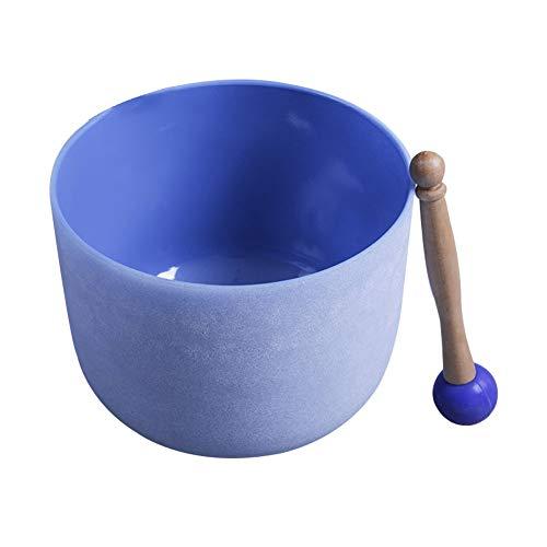 Blau Quarzkristall Chakra Klangschale Set 6-10 Zoll mit Schlägel zur Entspannungs-Meditation, Stress und Angst Relief Klangmassage
