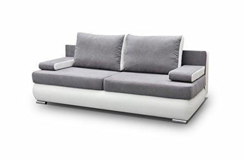 mb-moebel Couch mit Schlaffunktion Sofa Schlafsofa Wohnzimmercouch Bettsofa Ausziehbar - MADAGASKAR (Grau)