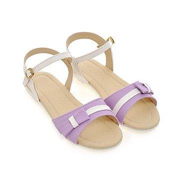 LvYuan Damen-Sandalen-Kleid Lässig Party & Festivität-Kunstleder-Flacher Absatz-Club-Schuhe-Blau Rosa Lila Mandelfarben Purple