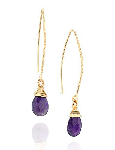 Damen-Ohrringe, hängend, langer Draht und handgewickelter Amethyst, 14 Karat Gold-Füllung, einzigartiger Damenschmuck - Ohrringe Amethyst Dangle