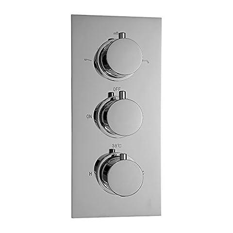 ENKI Mitigeur thermostatique encastrable de douche 3 poignées 3 voies (Anti Scald Dispositivo)