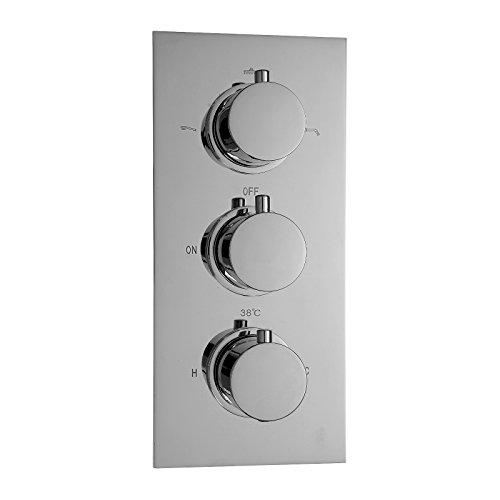 ENKI Unterputz-Duscharmatur mit Thermostat - Rundes Design - 3 Regler - 3 Anschlüsse -