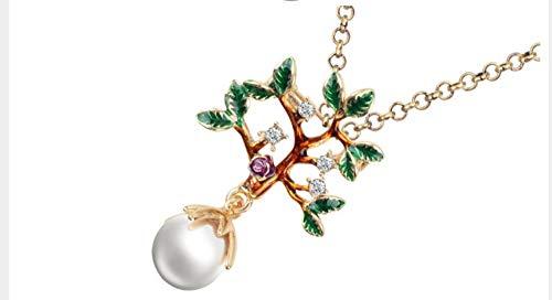 XZZZBXL Damenhalskette Emaille Strass Perle Baum Blume Blatt Halskette Anhänger Natürlichen Pflanzlichen Halsband Crystal Legierung Schmuck Für Frauen Mädchen Bulk - Perle-perlen-halsketten-bulk