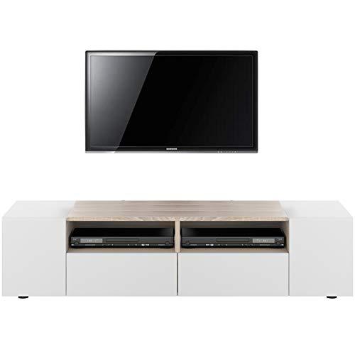 HABITMOBEL Mueble de TV, Mesa Comedor Blanco y Roble Canadian ...