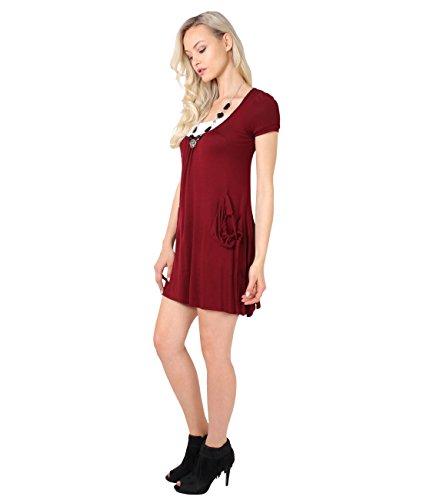 KRISP Damen Kurzes Tunika 3in1 Kleid Weinrot (3984)