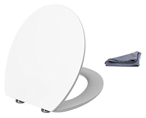 Antikalkblitz Thron WC Sitz weiss mit Absenkautomatik + Pflegetuch - Klodeckel und Toilettensitz mit Softclose Technik -