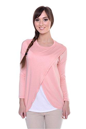 Mija - 2er Umstandsmode / 2in1 Stillshirt Umstandsshirt / Stilltop Umstandstop Oxd3 Rosa