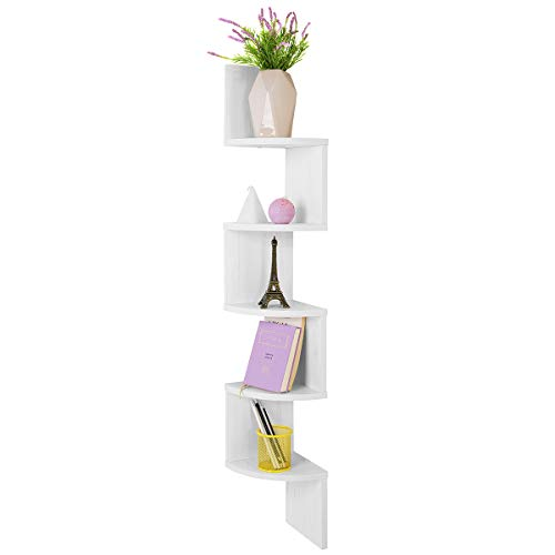 COMIFORT, scaffale da parete ad angolo, moderno, libreria in colori bianco, wengè, quercia, stile Nordico