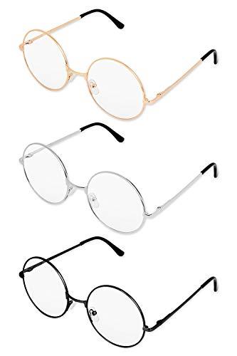 SCSpecial Metall Frame Runde Brille Retro Metall Klare Linse Brille, Unisex, Schwarz, Golden,...