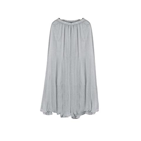 Jupe De Plage, Tonwalk Femme De Mode Longue Jupe Mousseline de soie (Taille unique, Gris)