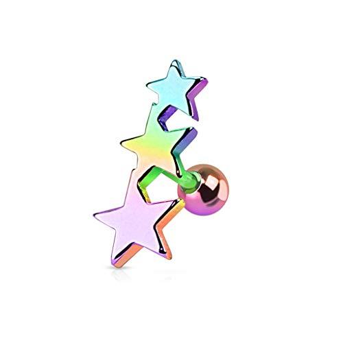 Paula & Fritz® Cartilage Piercing Straight Barbell Rings Tragus Sterne Edelstahl Chirurgenstahl 316L Silber schwarz gelbgold, roségold bunt JA1016_W