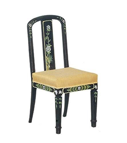 Melody Jane Puppenhaus Schwarz & Gold Handbemalt Chinoise Stuhl JBM Miniatur Möbel