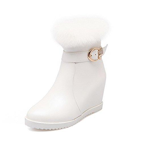 AllhqFashion Damen Rund Zehe Niedrig-Spitze Hoher Absatz Rein Weiches Material Stiefel Weiß