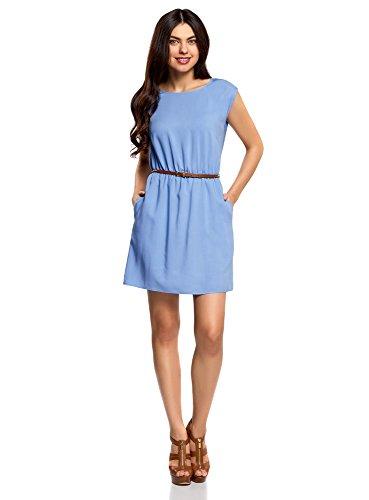 oodji Ultra Mujer Vestido de Viscosa con Cinturón, Azul, ES 34 / XXS