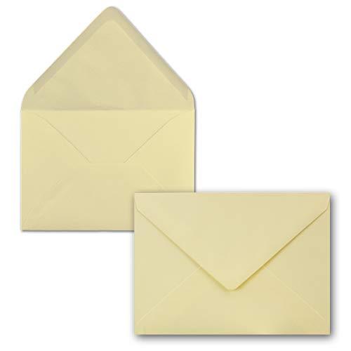 50 Brief-Umschläge - Vanille-Creme - DIN C6-114 x 162 mm - Kuverts mit Nassklebung ohne Fenster für Gruß-Karten & Einladungen - Serie FarbenFroh®