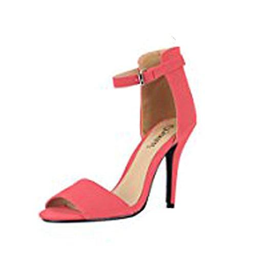 Ladies High Stiletto Heel Open Toe Back Ankle Strap Faux Suede Sandals Shoes 3-8 Corail