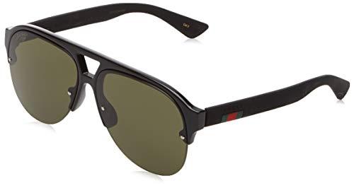 Gucci Herren GG0170S 001 Sonnenbrille, Schwarz (1/Green), 59