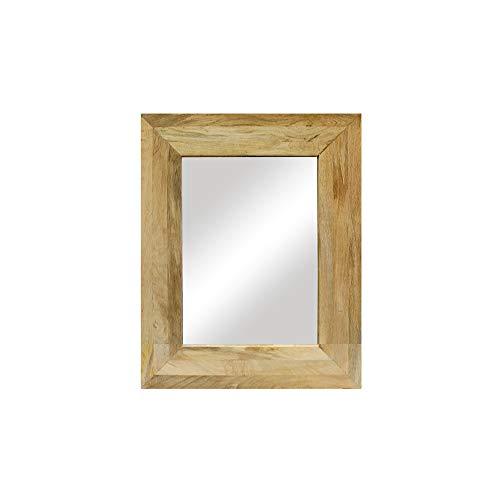 DRULINE Wandspiegel Mango Spiegel Holzrahmen Wanddekoration Badspiegel mit Massivholz-Rahmen aus Mangoholz Natur zum aufhängen | F0016080 | L x H 40 x 50 cm | Naturholz Braun