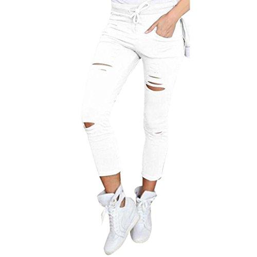 Pantalon dames Xinan Skinny déchiré haute taille crayon Slim Stretch Pants (S, blanc)