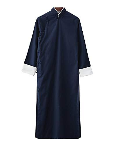 PengGengA Herren Mantel Jacke Tang-Anzug Chinesisch Traditionell Lange Ärmel Kampfkunst Kung Fu Leinenhemd Navy S