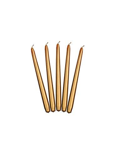 Spitzkerzen, 24cm, Metallic-Optik, Brenndauer 6Stunden, 10Stück - Metallic Gold