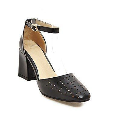 zhENfu Donna Sandali scarpe Club similpelle estate cava Casual-out Chunky Heel arrossendo Rosa Giallo Beige Bianco Nero 3A-3 3/4in Black
