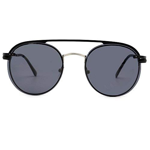 Natwve & Co polarisierte Klipp auf magnetischem rundem Sonnenbrille-Metall für Rezeptglas-Rahmen (Schwarz mit Silber/Schwarz)