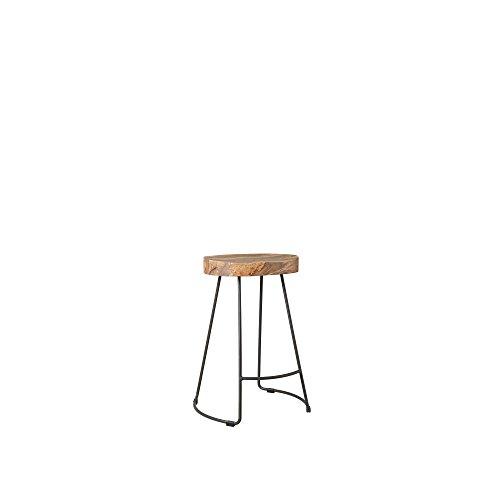 Swoon sgabello da cucina welles, sedile ergonomico in legno di mango massello e gambe in metallo (acciaio) verniciato a polvere grigio antracite