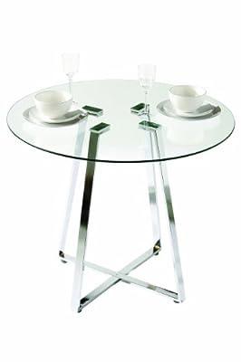 Premier Housewares Metropolitan Round Glass Dining Table with Chrome Legs - 76 x 90 x 90 cm