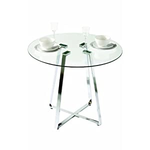 Premier Housewares Metropolitan Round Glass Dining Table with Chrome Leg, 76 x 90 x 90 cm