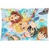 Your Lie in April-Shigatsu WA Kimi No Uso Custom Zippered Pillow cases(Copricuscini e federe) 20x30 (Twin sides)