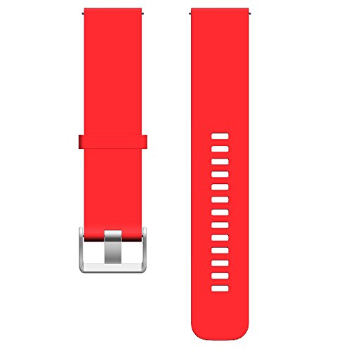 Red Rubber Strap (ECSEM Silicone Bands - Choice of Color & Width (20mm) - Silky Soft Rubber Watch Straps, Red)
