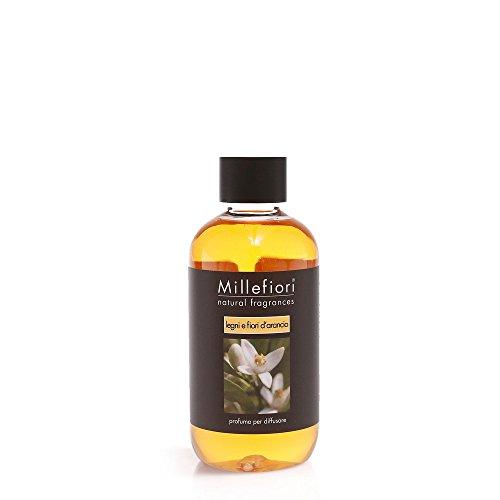 Millefiori, profumo per diffusore, ricarica ai legni e fiori d'arancio, 250ml, per diffusore naturale per ambienti, plastica, arancione, 8,3x 5,7x 13,7cm
