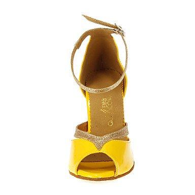 XIAMUO Anpassbare Damen Tanzschuhe Latein/Ballsaal Kunstleder angepasste Ferse Gelb Gelb
