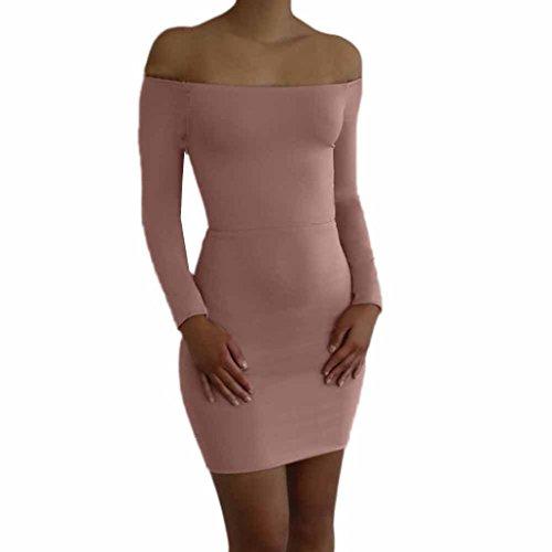 Damen Kleider Frauen Sommerkleider Bodycon Minikleid Langarm Party Evening Short Partykleid Cocktailkleid Paket Hüfte Bleistiftkleid Casual Schulterfrei Dress T-Shirt Kleid (M, Sexy Rose) (Shorts Cotton Pleated)