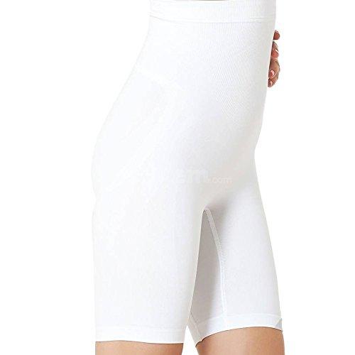 Formeasy Damen Shapewear Miederhose bauch weg stark formend Miederpants mit Bein Taillenformer Shaper angenehme figurformende Wäsche, Weiß, Small