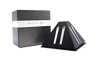 8 Sterling Silver 925 Collar Stiffeners / Collar Stays with BLACK & SILVER unique & elegant collar stiffener holder, by Kolletto - made in Italy