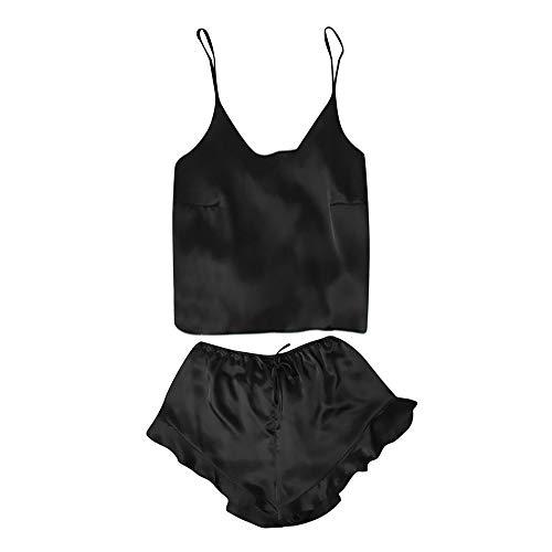 2PCS Nuisette Sexy Femme Erotique Grande Taille Pyjama Femmes Satin Dentelle Vetement Pas Cher a la Mode Chemise de Nuit Ensemble Lingerie Top Haut de Pyjama Sho